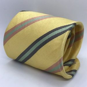Gucci Mens Yellow w/ Green Red Striped Necktie Tie